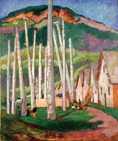 """Kispiox Village,"" Emily Carr, oil on canvas, x Vancouver Art Gallery. Tom Thomson, Canadian Painters, Canadian Artists, Emily Carr Paintings, Vancouver Art Gallery, Group Of Seven, Impressionist Paintings, Art Moderne, Native American Art"