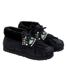 Love this Black & Turquoise Beaded Faux-Fur Lined Moccasin on #zulily! #zulilyfinds