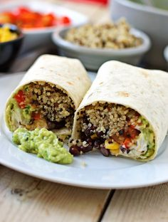 Mexican Quinoa Wraps [Vegan] - One Green PlanetOne Green Planet Pastas Recipes, Vegan Recipes, Dinner Recipes, Vegan Food, Dessert Recipes, Eating Vegan, Corn Recipes, Vegan Raw, Whole Foods