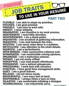 Positive Job Traits to Use in Your Resume - Resume Template Ideas of Resume Template - Positive Job Traits to Use in Your Resume Resume Help, Job Resume, Resume Tips, Job Interview Answers, Job Interview Preparation, Job Interviews, Cover Letter For Resume, Cover Letters, Job Help