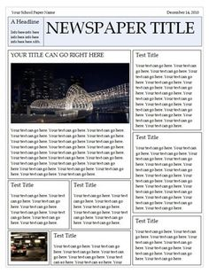 "Wonderful Free Templates to Create Newspapers for your Class ~ Educational Technology and Mobile Learning. Students can use these templates to create ""articles"" on a research project or book report. Writing Lessons, Teaching Writing, Teaching English, Teaching French, French Teacher, Essay Writing, Newsletter Design, Newsletter Templates, Newsletter Ideas"