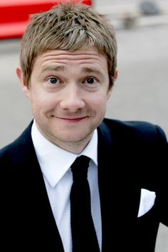 Martin Freeman, look at this cute face!!!! He's like Matt Smith in levels of adorableness! WHY IS HE SO ADORABLE. HE'S 41. 41 YEAR OLD MEN ARE NOT NORMALLY ADORABLE. John Barrowman doesn't count.