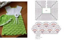Sublime Crochet for Absolute Beginners Ideas. Capital Crochet for Absolute Beginners Ideas. Crochet Baby Dress Pattern, Baby Dress Patterns, Baby Girl Crochet, Crochet Baby Clothes, Crochet Diagram, Crochet Chart, Crochet Stitches, Crochet Patterns, Mode Crochet