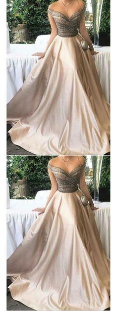 Long Prom Dresses Off-the-shoulder Floor-length Satin Sexy Prom Dress/Evening Dress JKL186