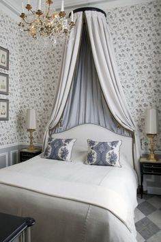 The mix of pattern. In particular that argyle floor. Gorgeous Parisian bedroom style with canopy bed and beautiful wallpapers Parisian Bedroom, Parisian Decor, Parisian Style, Bedroom Classic, Modern Bedroom, Home Bedroom, Bedroom Furniture, Bedroom Decor, Master Bedroom