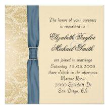 Elegant Gold Damask Blue Ribbon Wedding Invite