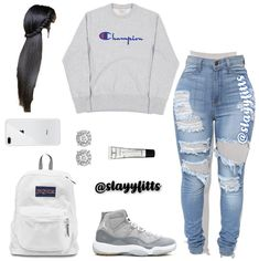Teen fashion for school Cute Lazy Outfits, Baddie Outfits Casual, Cute Outfits For School, Cute Swag Outfits, Trendy Outfits, Jordan Outfits For Girls, Teenage Girl Outfits, Teen Fashion Outfits, Fashion Edgy