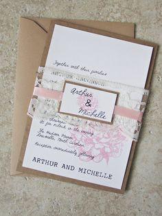 DEPOSIT  Peony Sketch Wedding Invitation by RiverCityStudio, $100.00
