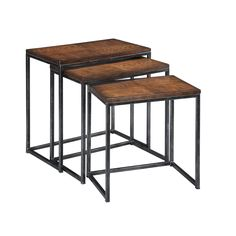 Expand the storage in any room discreetly with these oak nesting tables from Creek Classics. Featuring wood and veneer tops on iron frames, these tables provide style and function in minimal space, making them a fine fit for busy rooms.