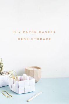 DIY Paper Basket Desk Storage