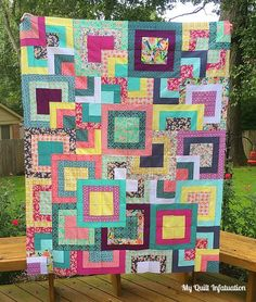Quilt Infatuation: Stacked Squares Love Great instructions for cutting FQ's to make this pattern.My Quilt Infatuation: Stacked Squares Love Great instructions for cutting FQ's to make this pattern. Layer Cake Quilt Patterns, Layer Cake Quilts, Fat Quarter Quilt Patterns, Layer Cakes, Jellyroll Quilts, Scrappy Quilts, 3d Quilts, Quilting Projects, Quilting Designs