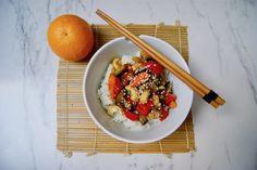 Légumes sautés à l'asiatique Orange, Sauce, Acai Bowl, Vegan, Breakfast, Food, Dressing, Eggplant, Asian