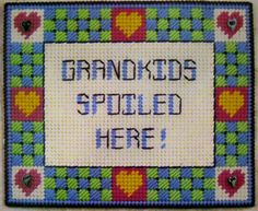 Grandkids Spoiled Here Plastic Canvas Pattern Idea for a tote bag