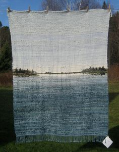 Woven Merino Wool Blanket Handdyed with Lake by joannaclose, $850.00