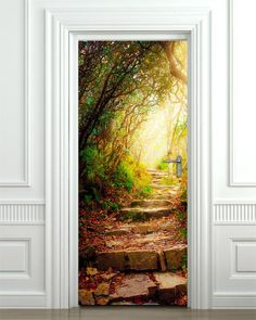 Stone Steps inside Forest Wall Decal, Garden Glowing Light Wall Decal, Nature Wall Sticker, Autumn Door Decor, Door Mural Home Decor Wall Stickers Roses, Door Stickers, Wallpaper Door, Beautiful Landscape Wallpaper, Vinyl Doors, Door Murals, 3d Wall Art, Door Wall, Inspiration Wall