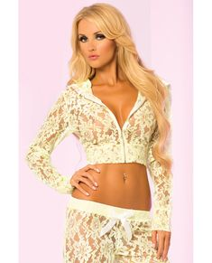 Pink Lipstick Loungewear Luxurious Lace Cropped Hoodie Green Md