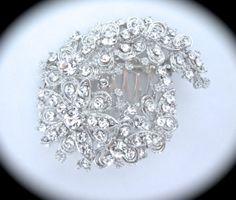 Bridal Floral Rhinestone Brooch Hair Comb // Flower Crystal Brooch // Wedding Brooch // Bridal Accessory // Handmade Brooch Hair Comb by ForYourSpecialDay, $37.99 **FREE PRIORITY US SHIPPING**