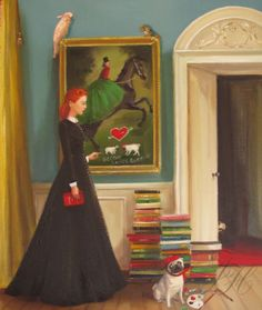Miss Moon Was A Dog Governess.  Lesson Three:  Respect The Property Of Others. Original Oil Painting. Janet Hill.