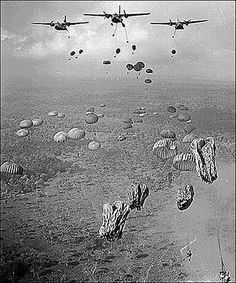 I think this is a picture of allies dropping ammunition combat rations and other needed supplies for there allies. I wonder if they have dropped of any soldiers out of this plane.