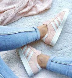 pink blushing Adidas sneakers