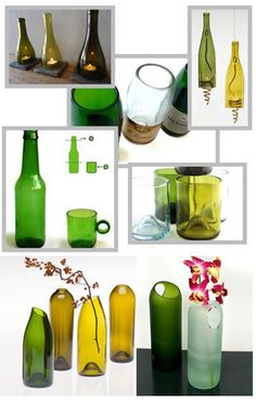 Cutting glass bottles on your own! Cutting Glass Bottles, Recycled Glass Bottles, Glass Bottle Crafts, Wine Bottle Art, Diy Bottle, Glass Jars, Garrafa Diy, Bottle Cutter, Bottles And Jars