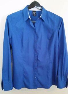 George Blue Long Sleeve Button Down Shirt Plus Solid 16/18 XL #George #ButtonDownShirt