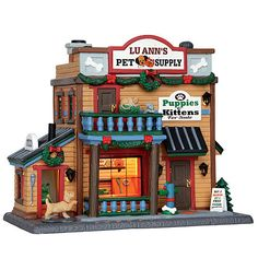 Lemax Village Collection Christmas Village Building Lu Ann'S Pet Supply Christmas Village Collections, Christmas Village Sets, Christmas Town, Christmas Villages, Christmas Ideas, Department 56 Christmas Village, Villas, Lemax Village, Kitten For Sale