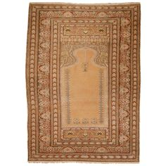 Antique Bandirma Prayer Rug   From a unique collection of antique and modern turkish rugs at https://www.1stdibs.com/furniture/rugs-carpets/turkish-rugs/
