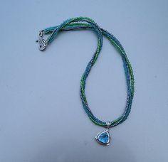 Lovely Multi Strand Seed Bead & Sterling Blue Topaz by acrazeelady
