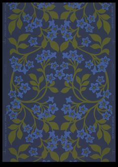 Object title: Wallpaper  Description: Unused partial roll. Loosely scrolling floral pattern. Prints in light blue and green on blue ground.  Maker: Sanderson (Manufacturer)    Date: 1966-1968    Location of origin: England  Places: England    Descriptive terms: wallpapers    Associated places: Codman House (Lincoln, Mass.)    Dimensions: roll x 21 3/4 (HxW) (inches)