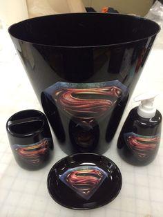Superman Man of Steel Bathroom Accessories Set by VSLSigns on Etsy, $32.00