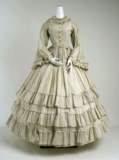 Cotton dress circa 1865, love the frilled skirt and collar :) so wish we could still dress like this