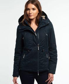New Womens Superdry Microfibre Boxy Snorkle Jacket Dark Navy 4838142bf