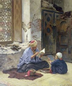 Ludwig Deutsch, An Arab Schoolmaster, 1889, Oil on panel, 54,4 x 47,4 cm, Rochdale Arts & Heritage Service