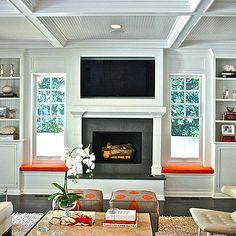 fireplace with built ins and windows on each side - Google Search