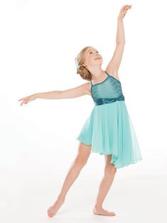 NEW! 2017 Collection Contemporary & Lyrical Costumes: Spandex leotard with stretch satin straps and matching waistband has a bodice overlay of embroidered lace. Asymmetrical skirt is georgette under a layer of chiffon.  Includes feather hair clip, hanger and garment bag.