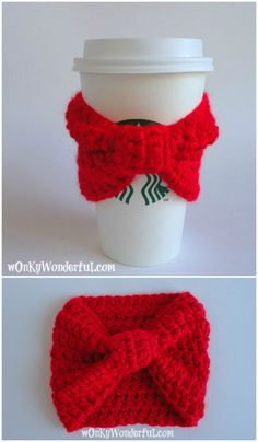 Red Bow Cup Cozy – Free Crochet Pattern - 74 Free Crochet Cozy Patterns Just Waiting for You to Make - DIY & Crafts