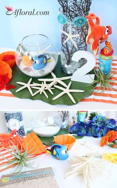 Finding Dory Centerpiece! Perfect for any birthday party or kids table. Find your beach decorations at Afloral.com. #afloral