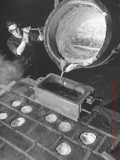 Margaret Bourke-White, Worker Pouring Aluminum Alloy