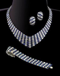 Van Cleef & Arpels, 'Stripe' necklace, bracelet and earrings suite, Paris, 1962. Brilliant cut diamonds and sapphires mounted in platinum