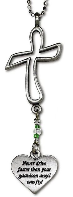 """Cool & Custom {2.25"""" x 1"""" Chain Hang} Single Unit of Rear View Mirror Hanging Ornament Decoration Made of Zinc Alloy w/ Cross Outline w/ Heart Guardian Angel Charm Design [Focus Silver &Green Colored]"""