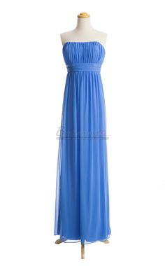 Strapless Long Chiffon Royal Blue Bridesmaid Dress in Blue Chiffon BDS-CA064 - BridesmaidCA.com