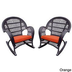Jeco Santa Maria Espresso Wicker Rocker Chair With Cushion (Set of 4) (Orange), Patio Furniture