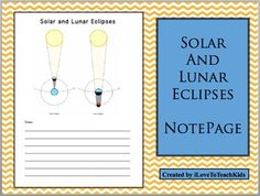 This is a great resource for teaching Earth Science and the concepts of Solar and Lunar Eclipses.  The illustrations make understanding easy for students as they take detailed notes about the topics.Save $1.00 on the BUNDLE of 3 Notepages for Earth Science at:BUNDLE Earth Science Note Pages