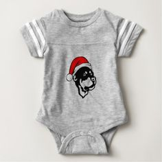 #Rottweiler Dog wearing Red Christmas Santa Hat Baby Bodysuit - #rottweiler #puppy #rottweilers #dog #dogs #pet #pets #cute