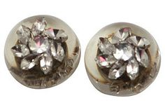 Chanel Lucite & Crystal Earrings ~ Vintage