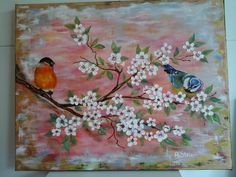 Cherry Blossom with birds www,artstolan.com Oil Paintings, Cherry Blossom, Birds, Art, Art Background, Kunst, Bird, Oil On Canvas, Performing Arts