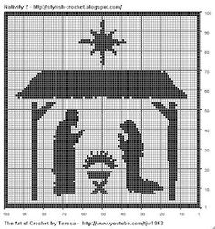 Free Filet Crochet Charts and Patterns: Filet Crochet Nativity Scene - Chart 2