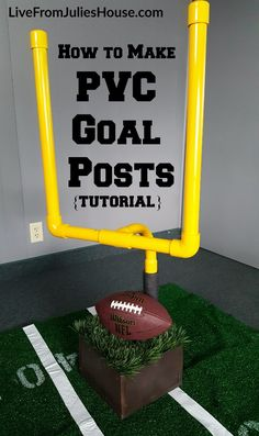 PVC Football Goal Posts - Want to throw the coolest Super Bowl Sunday Party on the block? Make this easy Goalpost centerpiece for your buffet table Football Birthday, Sports Birthday, Sports Party, 8th Birthday, Birthday Cakes, Football Banquet, Football Themes, Football Decor, Football Parties