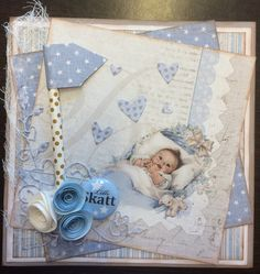 Scrappiness: Baby gutt Maja Design,Spellbinders, Memory Box, Kort & Godt, American Craft, Babyboy card,